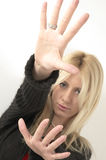 Blond Young Woman Hands Out Stock Photo