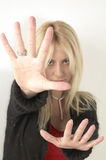 Blond Young Woman Hands Out Royalty Free Stock Photo