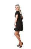 Blond Young Woman In Black Dress Royalty Free Stock Images