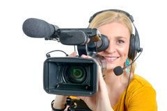Blond young woman with professional video camcorder, on white Royalty Free Stock Photo
