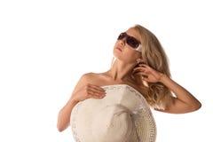Blond in zonnebril Stock Afbeeldingen