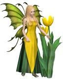 Blonda Haired gula Tulip Fairy vektor illustrationer