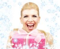 blonda lyckliga snowflakes Royaltyfri Fotografi