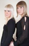 blonda nätt brunettflickor Fotografering för Bildbyråer