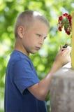 Blonda pojkelekar i trädgården Royaltyfri Bild