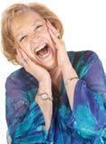 Blonde ältere schreiende Frau Lizenzfreie Stockfotografie