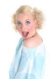 Blonde überraschte reizvolle Frau Lizenzfreie Stockfotos