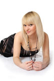 Blonde. The young attractive woman on a white background Stock Image