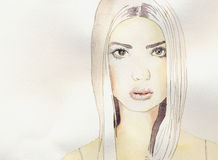 Blonde. A watercolor of a blonde girl Stock Photo