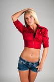Blonde. Lovely young blonde in a sexy cowgirl outfit Stock Photo