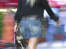 Blonde. Shopping blur action background Royalty Free Stock Photography