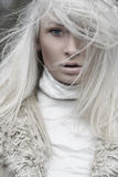 Blonde. Portrait of a beautiful girl wearing white fur, blonde hair messed up stock image