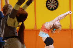 Blonde aerobics trainer Stock Photo