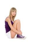 Blonde alegre de la muchacha Foto de archivo libre de regalías