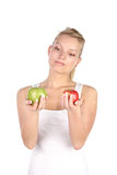 Blonde with apple Royalty Free Stock Photos