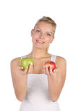 Blonde with apple Royalty Free Stock Images
