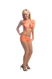 Blonde arancione del bikini Immagine Stock Libera da Diritti