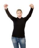 Blonde Arme oben für Erfolg Lizenzfreies Stockfoto