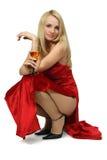 Blonde atractivo con el vidrio de vino. Imágenes de archivo libres de regalías