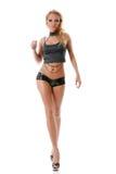 Blonde atractivo con las piernas largas Foto de archivo libre de regalías