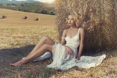 Blonde atractivo en henar Fotos de archivo