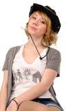 Blonde atractivo en un sombrero de vaquero Fotografía de archivo libre de regalías