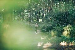 Blonde atractivo, mujer de la aptitud que corre en el parque de la mañana Foto de archivo