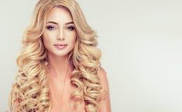 Blonde attirante de femme avec la coiffure élégante photo libre de droits