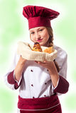 Blonde attractive female chef Stock Photography