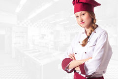 Blonde attractive female chef Stock Image