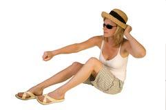 Blonde Aufstellung auf Unterseite Stockfotos