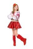 Blonde Aufstellung in der nationalen Kleidung Stockfoto