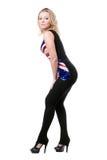 Blonde Aufstellung im Anschlussmarkierungsfahne Hemd Stockfotografie