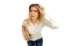 Blonde Aufstellung mit bookis im Studio Stockfotografie