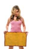 Blonde Aufstellung mit gelbem Weinlesevorstand Lizenzfreies Stockfoto