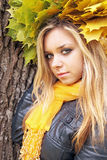 Blonde in the autumn garland Royalty Free Stock Photo