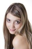 Blonde avec de grands yeux Photographie stock
