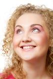 Blonde avec le cheveu bouclé Photos stock