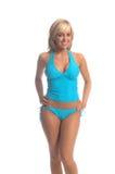 Blonde azul de Tankini foto de stock
