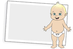 Blonde Baby in Diaper. Vector Illustration of baby in a cloth diaper with diaper pin standing in front of a instant camera-type print left blank for copy Royalty Free Stock Photos