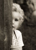 Blonde baby girl black and white Stock Photos