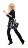 Blonde with a bag. Pretty blonde with a bag on a white background Royalty Free Stock Photos