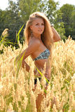 The blonde in a bathing suit on the nature Royalty Free Stock Images