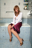 Blonde in bathroom Royalty Free Stock Photography
