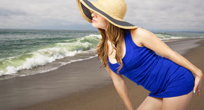 Blonde on the beach royalty free stock image