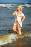 Blonde  on the beach Royalty Free Stock Photo
