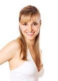 Blonde beautifu Frau mit den gesunden Zähnen Lizenzfreie Stockbilder