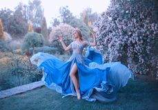 Blonde, with a beautiful elegant hairdo, walks in a fabulous blooming garden. Princess in a long gray-blue dress with a royalty free stock image