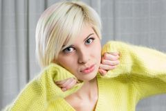 Blonde and beautiful woman model Stock Images