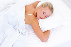Blonde beautiful woman sleeping Stock Photo